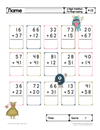 two digit addition worksheets without regrouping