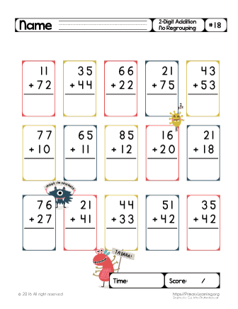 double digit addition no regrouping