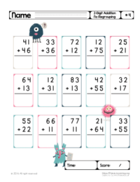 2 digit addition without regrouping printables