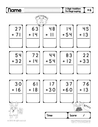 two digit addition no regrouping 6. Black Bedroom Furniture Sets. Home Design Ideas