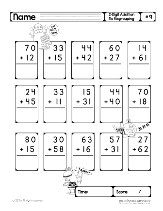 2 digit addition worksheets without regrouping