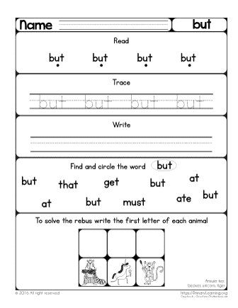 Letter Sight Words For Kindergarten