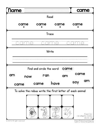 Sight word came worksheet free worksheets primarylearning in this worksheet you will find five great activities to practice the sight word came your child will learn to read the word came as well trace it and ibookread PDF