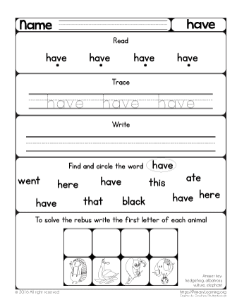 sight word have