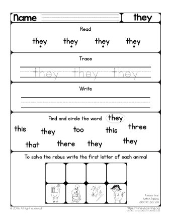 This worksheet helps kids with their ability to read the high frequent ...