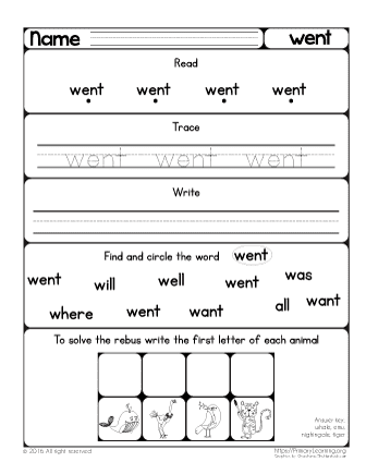 Sight Word Went Worksheet Free Worksheets Primarylearning
