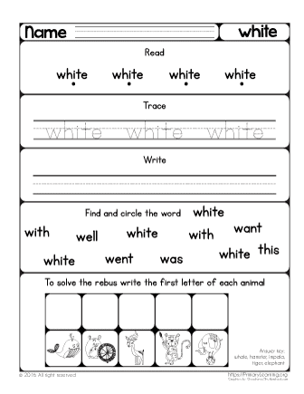 Sight Word White Worksheet   PrimaryLearning.org