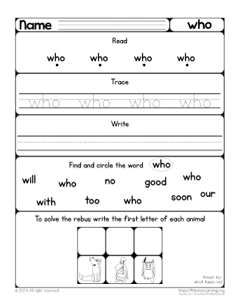 Sight Word Who Worksheet | PrimaryLearning.org