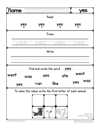 Worksheet Sight Words Year 3 essential activities sight word yes primarylearning org yes