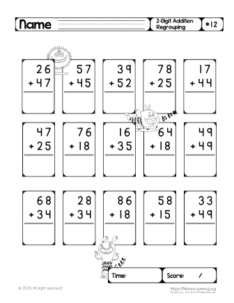 2 digit regrouping addition worksheets