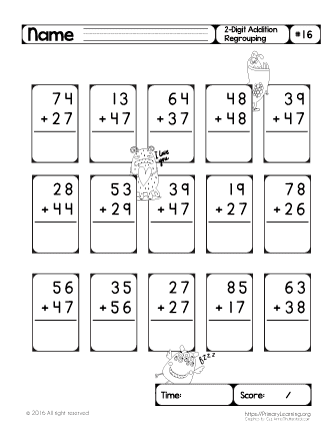 worksheet addition with regrouping