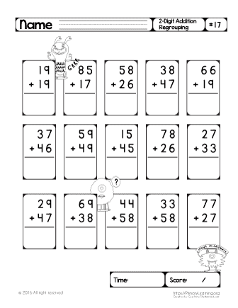 regrouping with addition worksheets