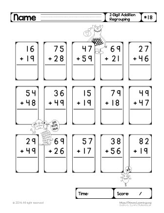regrouping worksheets addition