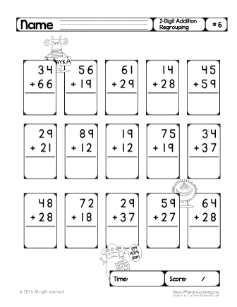 two digit addition regrouping 6. Black Bedroom Furniture Sets. Home Design Ideas
