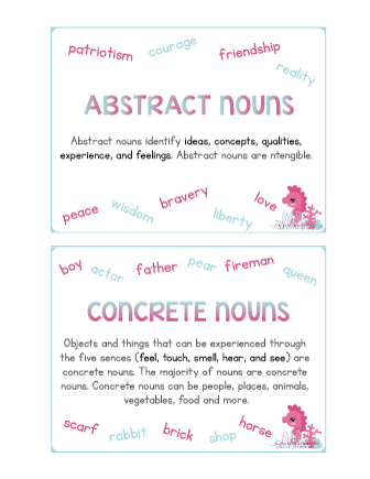 Concrete and abstract nouns worksheet 8th grade