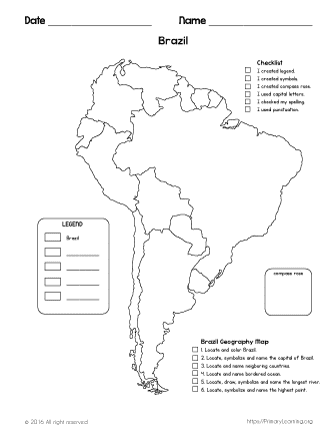 The map of brazil geography free worksheets for Brazil map coloring page