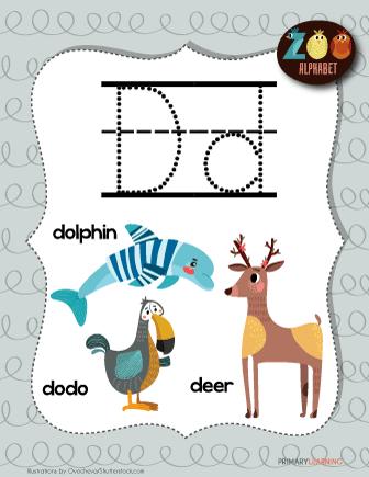letter d animals printable poster free worksheets