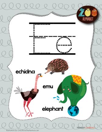 letter e animals