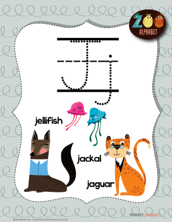 letter j animals | printable poster | primarylearning