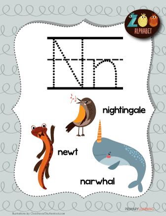 Letter N Animals | Printable Poster | PrimaryLearning.org