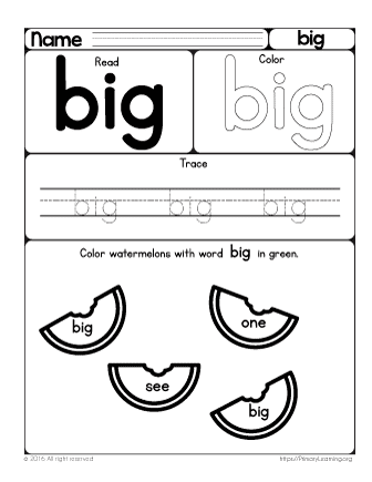 With this worksheet, your preschooler will learn the sight word big ...