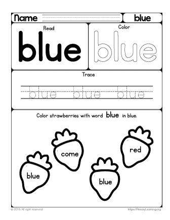 Sight Word Blue Worksheet | Free Worksheets | PrimaryLearning.org