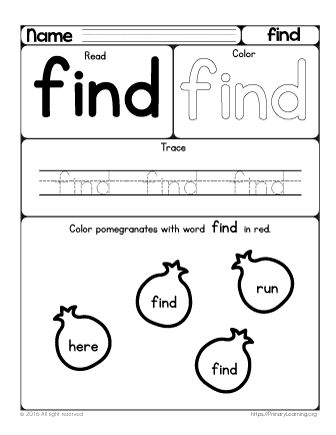 Number Names Worksheets fun sight word worksheets : In the Orchard | Sight Word Find | PrimaryLearning.org