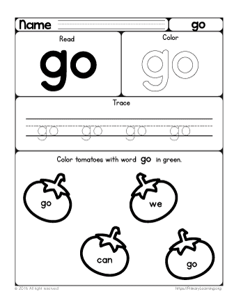 In The Orchard Sight Word Go Primarylearning Org