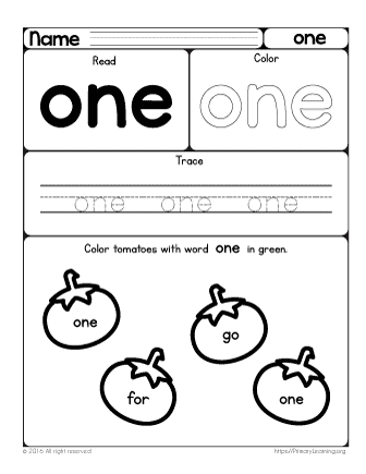 sight word one