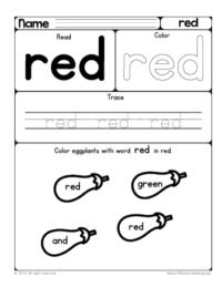 sight word red
