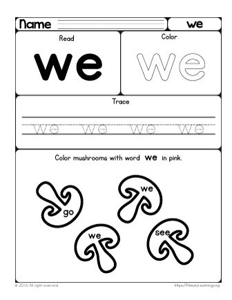 Sight Word We Worksheet Free Worksheets Primarylearning