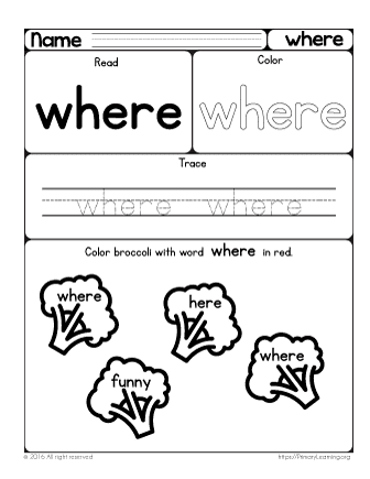 Sight Word Where Worksheet | PrimaryLearning.org
