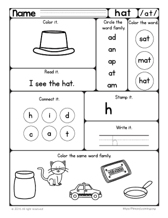 Hat Worksheet The At Word Family Free Worksheets