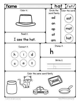 Word Family Worksheet Kindergarten Worksheets for all | Download ...