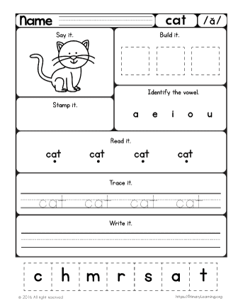 free cat worksheet learn short a sound. Black Bedroom Furniture Sets. Home Design Ideas