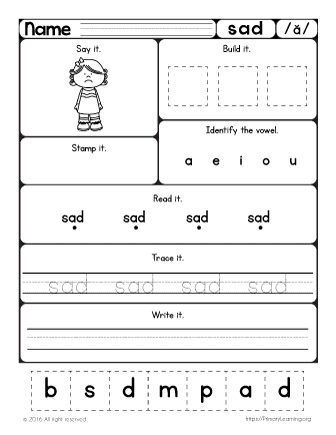 Sad Worksheet Learn Short A Sound Free Worksheets