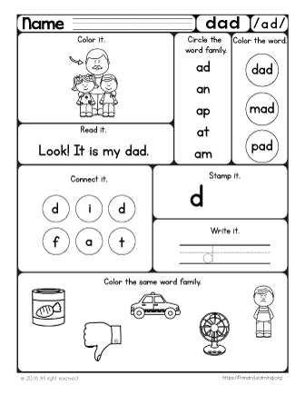 The ad Word Family | Hands-on Pack | PrimaryLearning.org