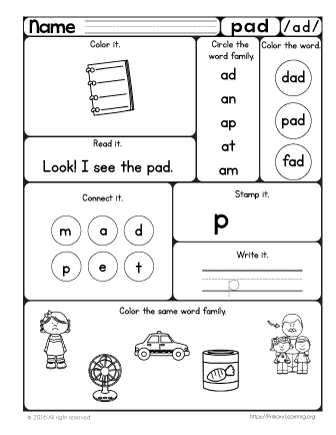 Pad Worksheet | The -ad Word Family | Free Worksheets