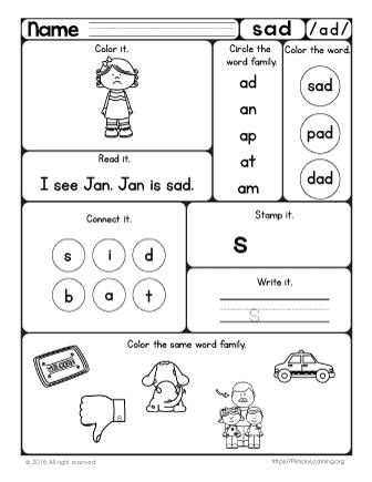 sad worksheet