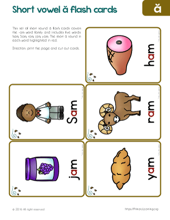 am word family flashcards free worksheets primarylearningorg