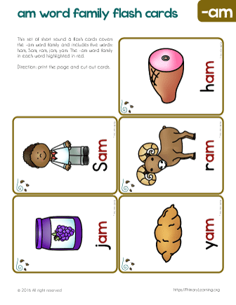 Reading Flashcards | -am Family Words | PrimaryLearning.org