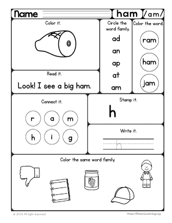 Ham Worksheet | The -am Word Family | PrimaryLearning.org