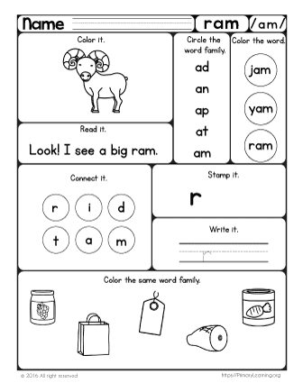 Ram Worksheet | The -am Word Family | PrimaryLearning.org