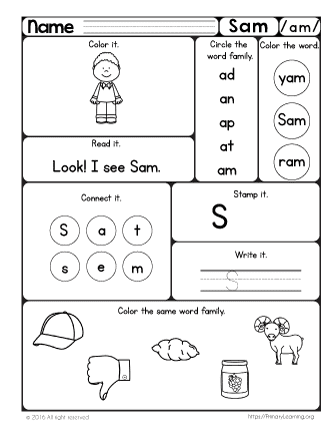 SAM Worksheet The AM Word Family