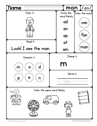 Man Worksheet | The -an Word Family | PrimaryLearning.org