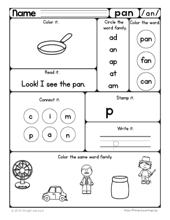 Pan Worksheet | The -an Word Family | PrimaryLearning.org