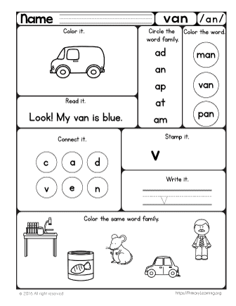 Van Worksheet | The -an Word Family | PrimaryLearning.org