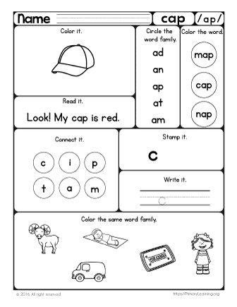 The ap Word Family | Hands-on Pack | PrimaryLearning.org