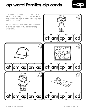 Ap Word Family Clip Cards Free Worksheets Primarylearning