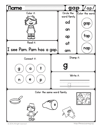 Gap Worksheet | The -ap Word Family | PrimaryLearning.org